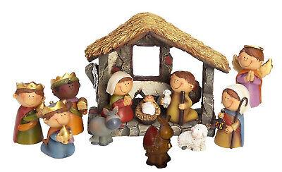 Kleine Weihnachts Krippe 12-tlg. Set Kinder Krippenfiguren mit Stall Weihnachten Weihnachten Krippe