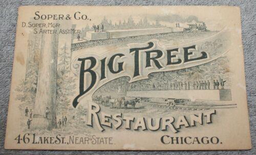 ANTIQUE 1893 CHICAGO WORLDS FAIR ADVERTISING CARD BIG TREEE RESTAURANT
