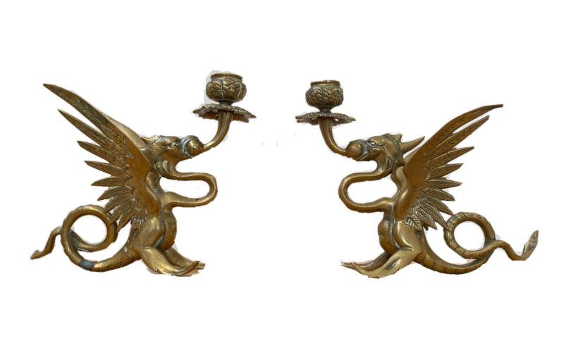 2 Vtg Brass Dragon Phoenix Winged Eagle Bird Candle Holder Candlestick Sculpture