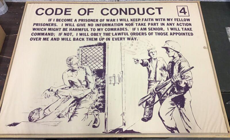 """Vietnam Era Military Training Poster """" Code Of Conduct 4 """""""