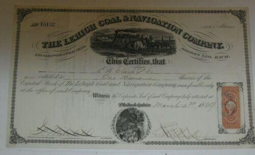 US 1869 LEHIGH COAL & NAVIGATION COMPANY STOCK CERTIFICATE W REVENUE STAMPS