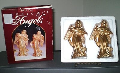 "Two 5"" Gold Christmas Angels Musical Original Box"