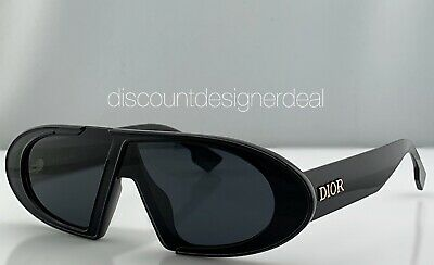 Christian Dior Oblique Sunglasses 8072K Black Frame Gray Lenses Brand New