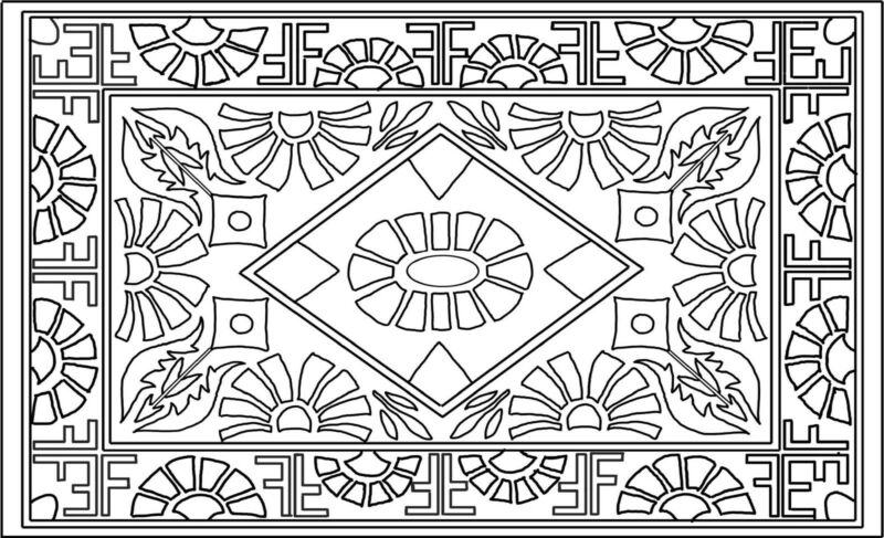 "Rug Hooking Pattern ""DECO FAN""  on natural linen"