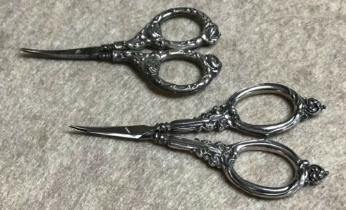 Two beautiful antique nail scissors - silver or silver plate