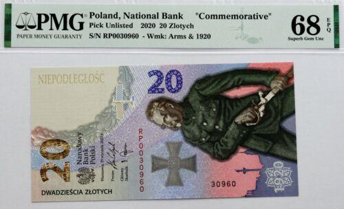 Poland Banknote - 20 zlotych 100th BATLE OF WARSAW - 2020. - PMG 68 EPQ