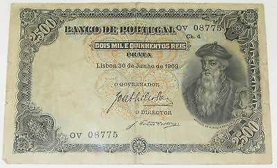 Banco De Portugal 2500 Reis - 1909 currency - Very Rare