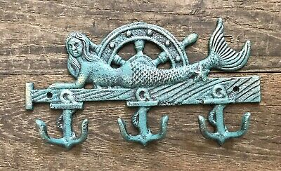 Cast Iron Nautical Mermaid Towel / Coat Rack Anchor Hook Holder
