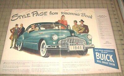 1946 BUICK SEDAN 2-Page Color Illustration Magazine Ad - Tomorrow's Book