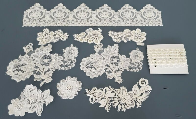 Lot of Bridal Trim-Edging Lace Woven Ivory Vintage Pieces Pearls & Crystals