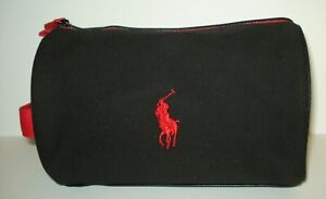 Ralph Lauren Polo Cosmetic ~Travel Case Bag  with Logo Black & Red  Canvas  Mans