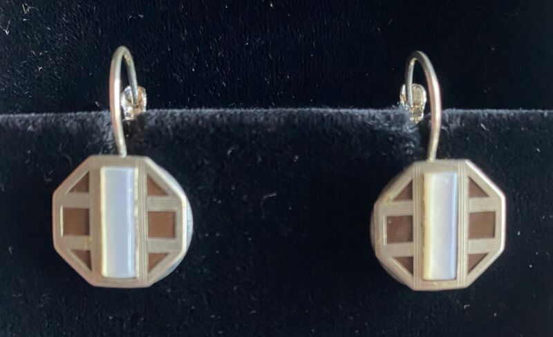 Antique Cuffstud Pierced Earrings Art Deco Mother of Pearl on Leverback Earwires