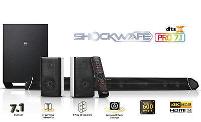 """Nakamichi Shockwafe Pro 7.1Ch DTS:X SoundBar w 8"""" Wireless Sub & 2-Way Rear Spkr"""