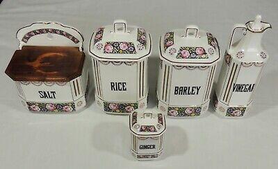 Ginger Rice Vinegar - 5 Kerag Kalsbad Czech Porcelain Canisters Salt Box Vinegar Ginger Barley Rice
