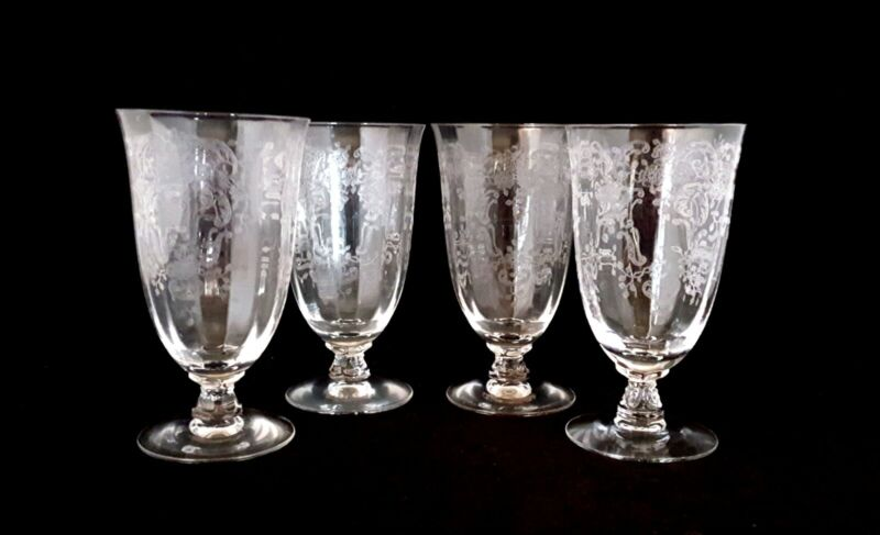 Fostoria MEADOW ROSE Etched Crystal Iced Tea Glasses Stem 6016 (4)