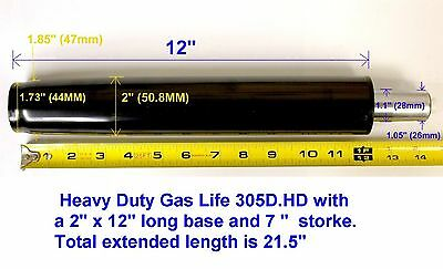 Heavy Duty 305d.hd Office Chair Gas Lift Cylinder 2 Inch Base 350lb