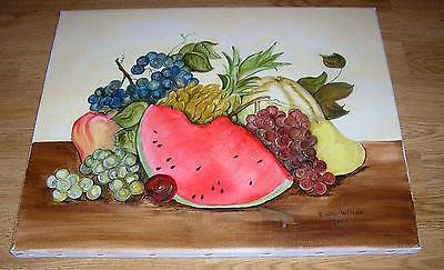 WATERMELON PINEAPPLE FRUIT GRAPES CANTALOUPE PEAR BOTANICAL STILL LIFE PAINTING