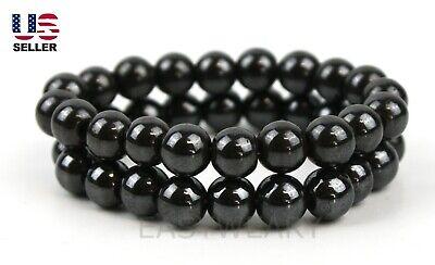 2 Pcs Set Hematite Magnetic Round Beads Elastic Stretch Bracelet Stone -