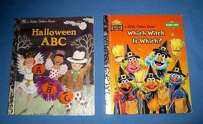 Lot 2 Halloween Little Golden Book Sesame Street Which Witch Is Which?/ABC's! - Sesame Street Halloween Book