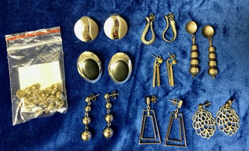Mixed Lot of Faux Silver Earrings Drop Dangle Stud 7 Pairs Fashion Jewelry