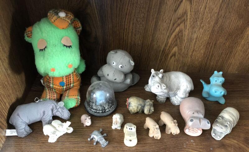 16 HIPPO HIPPOPOTAMUS collection Dakin bean bag, Crest Promo, pewter resin clay