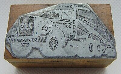 Vintage Printing Letterpress Printers Block Schwerman Semi Truck