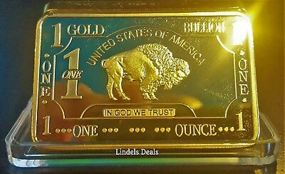 1 OZ GOLD CLAD BAR 100 MILLS .999 FINE GOLD BULLION + CASE / BUY 2 GET 1 FREE