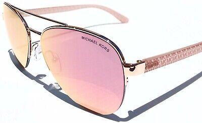 NEW* Michael Kors Barcelona Pink Rose Gold Mirror Aviator Womens Sunglass MK1048