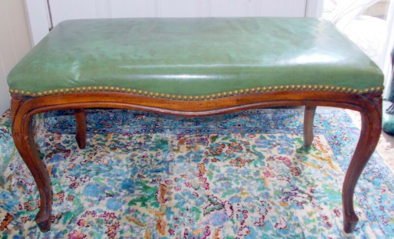 Vtg FOYER VANITY FIRESIDE PIANO Carved BENCH  French Louis XV Cabriole Legs