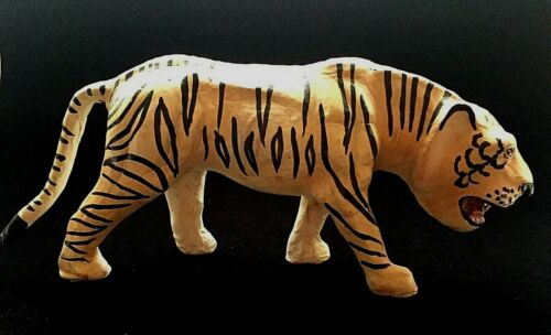 Leather Wrapped Papier-Mache Hand Painted Bengal Tiger Large Figure. Unsigned.