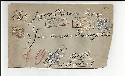 Preussen V / BOTTROP 17.1. (1871), 4 klare Preußen-Ra2 auf Werth-Brief