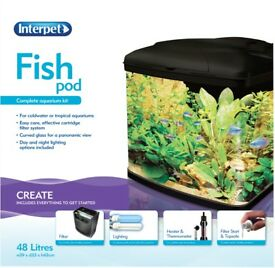 Interpet Fish Pod Glass Aquarium Fish Tank 48 Litre BRAND NEW UNUSED