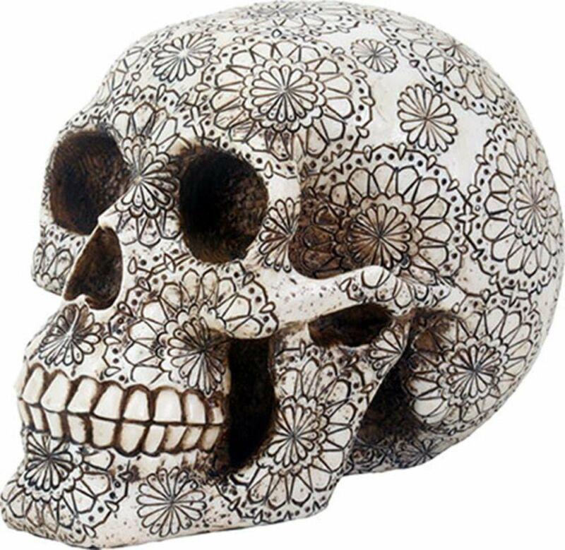SUMMIT COLLECTION Day of The Dead Gothic Human Skull Head with Floral...