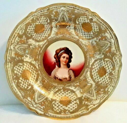 """Antique Nippon Portrait Plate 10"""" Porcelain Moriage Gold Gilt Victorian Elegant"""