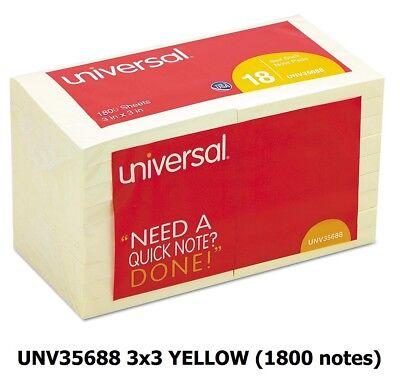 1800 Sticky Notes Self Stick 3x3 100sht 18pad Pak Office Post Unv35688 It Yellow