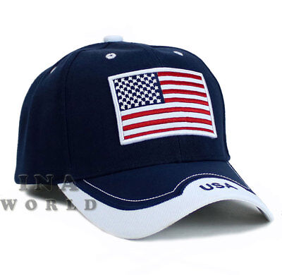 USA American Flag hat Stars and Stripes Flag Embroidered Baseball cap- Navy Blue
