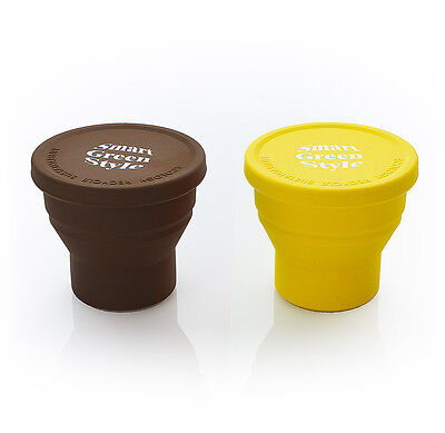 Eco Silicon cup Travel cup  portable  foldable  200ml Yellow brown 2pcs