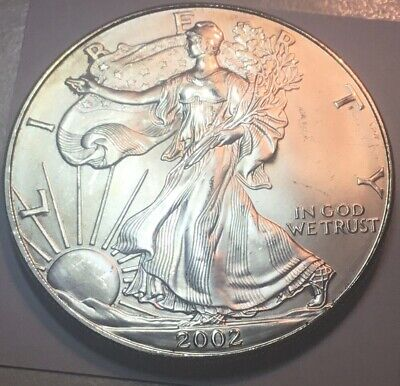 2002 $1 SILVER AMERICAN EAGLE MINOR IMPERFECTIONS