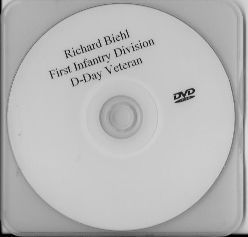 RICHARD BIEHL 1ST INFANTRY DIVISION-BIG RED ONE D-DAY VETERAN RARE INTERVIEW DVD