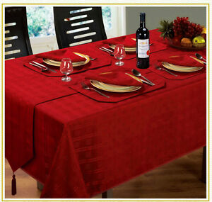 New Jacquard Hampton Tablecloths, Napkins, Runners & Placemats - All Colours