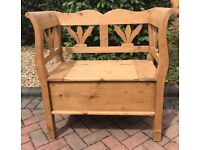 ORNATE PINE MONKS BENCH WITH STORAGE. PEW & CHURCH / CHAPEL CHAIRS ALSO AVAILABLE.