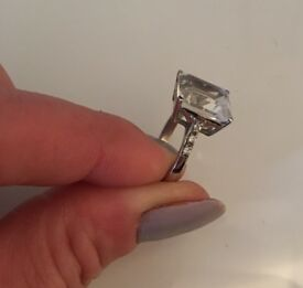 Crystal Quartz and White Topaz Sterling Silver Ring