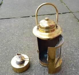 Antique binnacle brass ships lamp,complete.