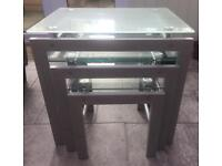 Glass nest of 3 tables