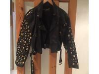 Leather Studded & Diamanté Jacket