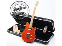 Ernie Ball Music Man Axis Super Sport USA Quilt Top Orange & Original Hard Case