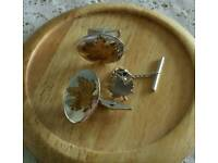 Cufflinks Silver with Oak leaf and Tie Pin