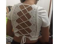 NEW white lace-up back crop top