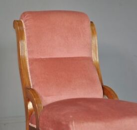 Attractive Small Antique Victorian Upholstered Mahogany Fireside Nursing Chair
