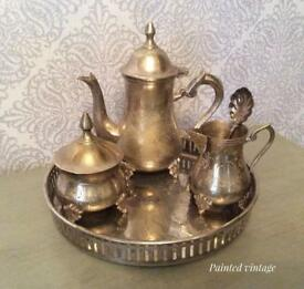 Vintage tea set and tray not silver